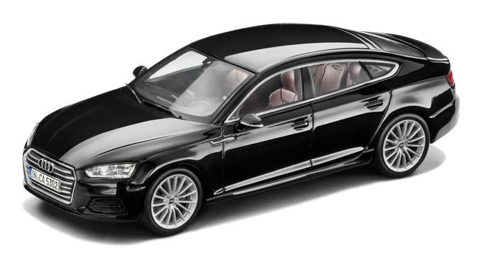 audi a5 sportback modellauto 1 43 mythosschwarz modell 2017. Black Bedroom Furniture Sets. Home Design Ideas
