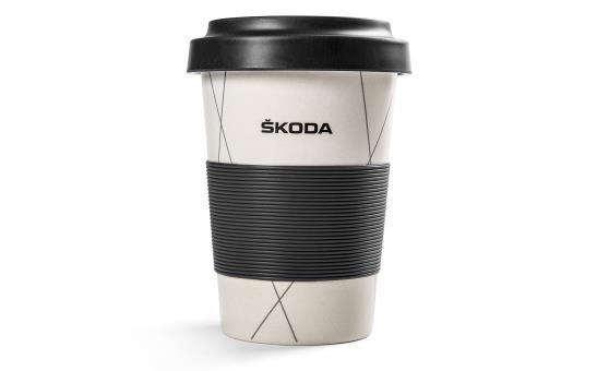 Skoda Kaffeebecher Trinkbecher ToGo Becher ECO mit Deckel 450 ml