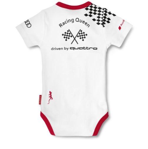 Audi Sport Body Wickelbody 'Racing Queen', Baby weiß / schwarz