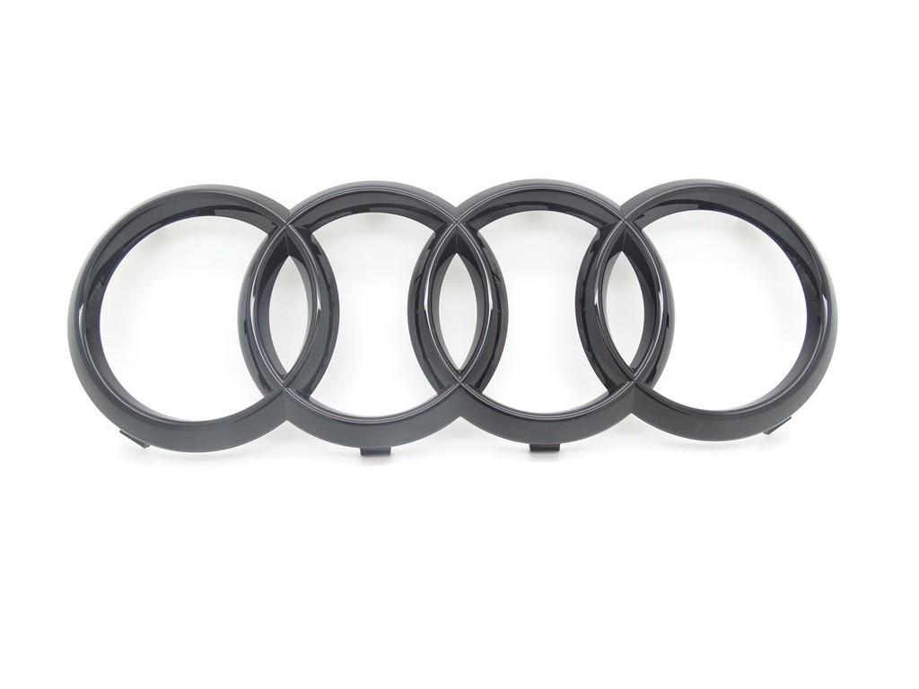 Original Audi Ringe Emblem Zeichen Kühlergrill schwarz glänzend Black Edition