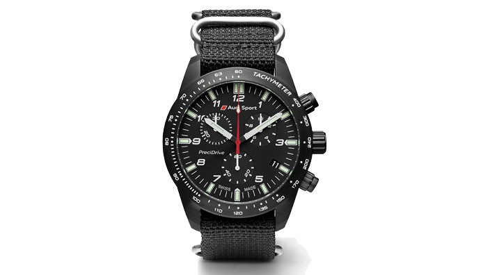 Audi Sport Uhr Chronograph PreciDrive Edelstahl schwarz
