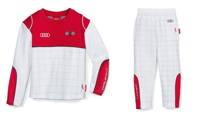 Audi Sport Kleinkinder Kinder Rennfahrer Schlafanzug weiß / rot Gr. 122/128