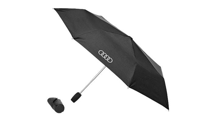 Audi Taschenschirm Regenschirm klein schwarz / titan