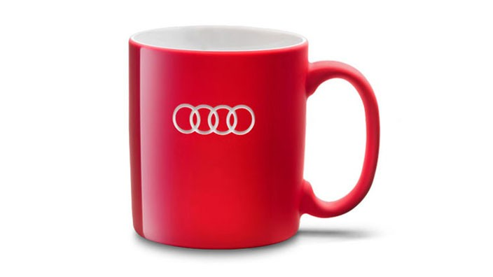 Audi Tasse Becher Porzellantasse Teetasse Kaffeebecher rot Audi Ringe