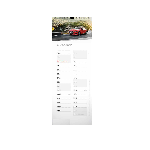 Audi Streifenkalender 2021 Wandkalender Fotokalender Kalender Calender 15x42 cm