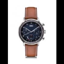 Audi Chronograph Solar Uhr Herrenuhr Armbanduhr Edelstahl blau/braun