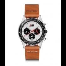 Audi heritage Uhr Herrenuhr Chronograph Edelstahl Leder braun / weiß 3101900600