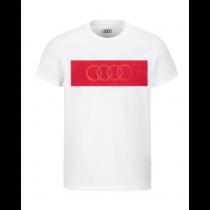 Audi Herren T-Shirt weiß / rot Audi Ringe Gr. S M L XL XXL