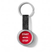 Audi Sport Schlüsselanhänger Start/Stop rot-silber Leder
