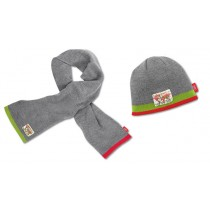 Audi Kinder Set Mütze & Schal Fleece grau