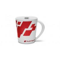 Audi Sport Becher Kaffeebecher Tasse Trinkbecher Porzellan rot weiß