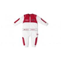 Audi Sport Baby Body Rennanzug Rennfahreranzug Rennoverall weiß / grau