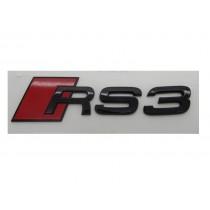 Original Audi RS3 Schriftzug Emblem Logo Plakette schwarz glänzend