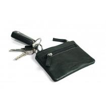 Skoda Schlüsseletui Leder Softrindleder schwarz mit Reißverschluss MVF09-133