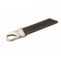 Skoda KODIAQ Leder-Schlüsselanhänger schwarz mit Karabiner