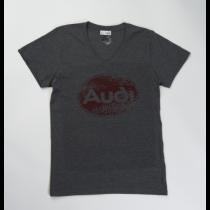 Audi Oval Tradition T-Shirt V-Ausschnitt Herren dunkelgrau Gr. M, L, XL