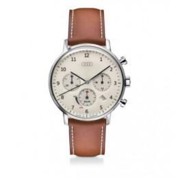 Audi Chronograph Solar Armbanduhr Uhr beige/braun