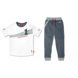 Audi Sport Kinder Set T-Shirt + Hose Trainingsanzug weiß grau