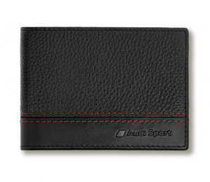 Audi Sport Geldbörse Portemonnaie Minibörse Leder schwarz / rot - 3151901300
